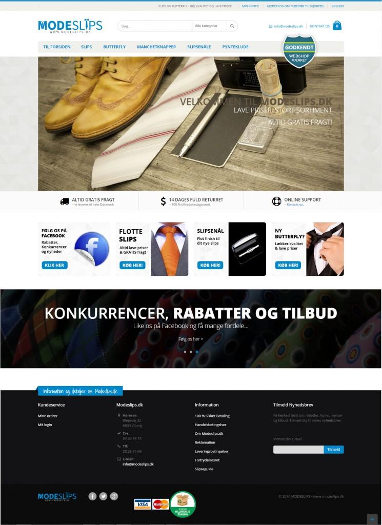 Redesign af Magento webshop til Modeslips.dk